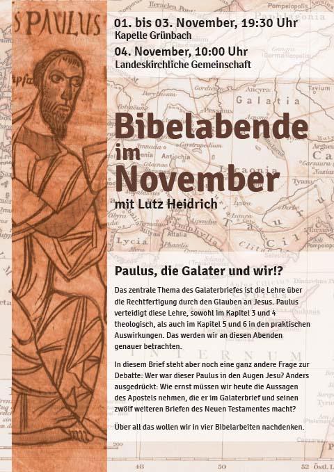 Plakat für Bibelabende 1.-4.11.2018 in Grünbach