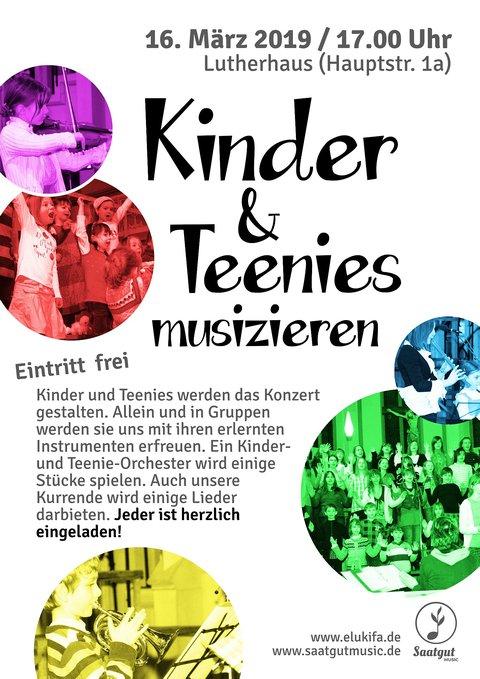 Plakat Kinder & Teenies musizieren - 16.03.2019 18:00 Uhr im Lutherhaus