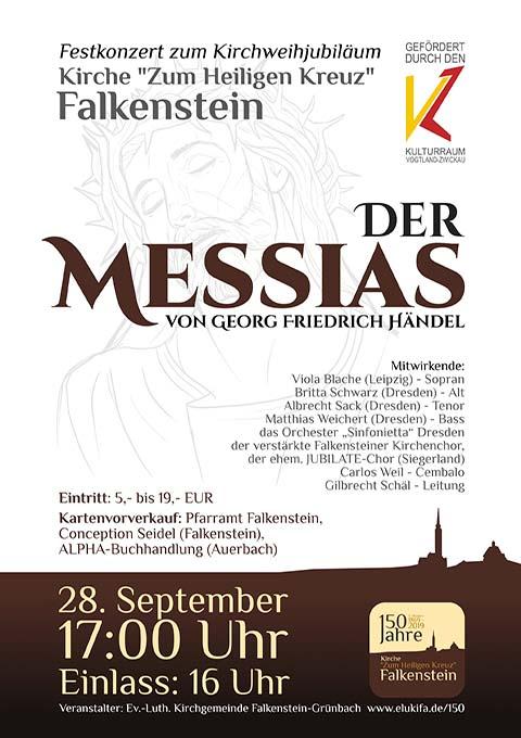 Plakat: Der Messias von Georg Friedrich Händel, 28.09.2019 17:00 Uhr, Kirche Zum Heiligen Kreuz Falkenstein